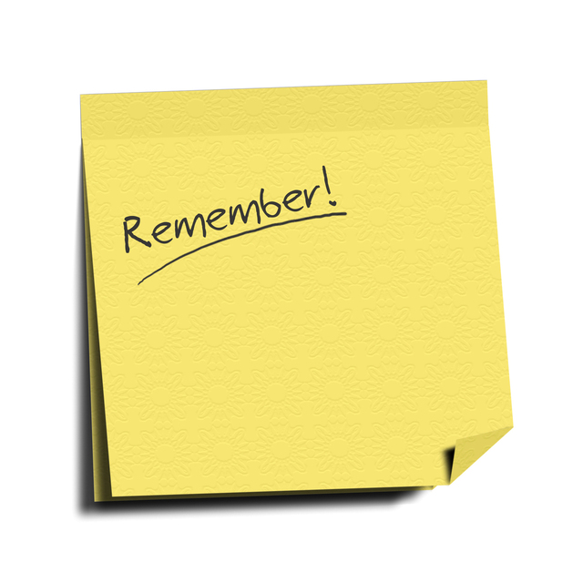notelet saying Remember