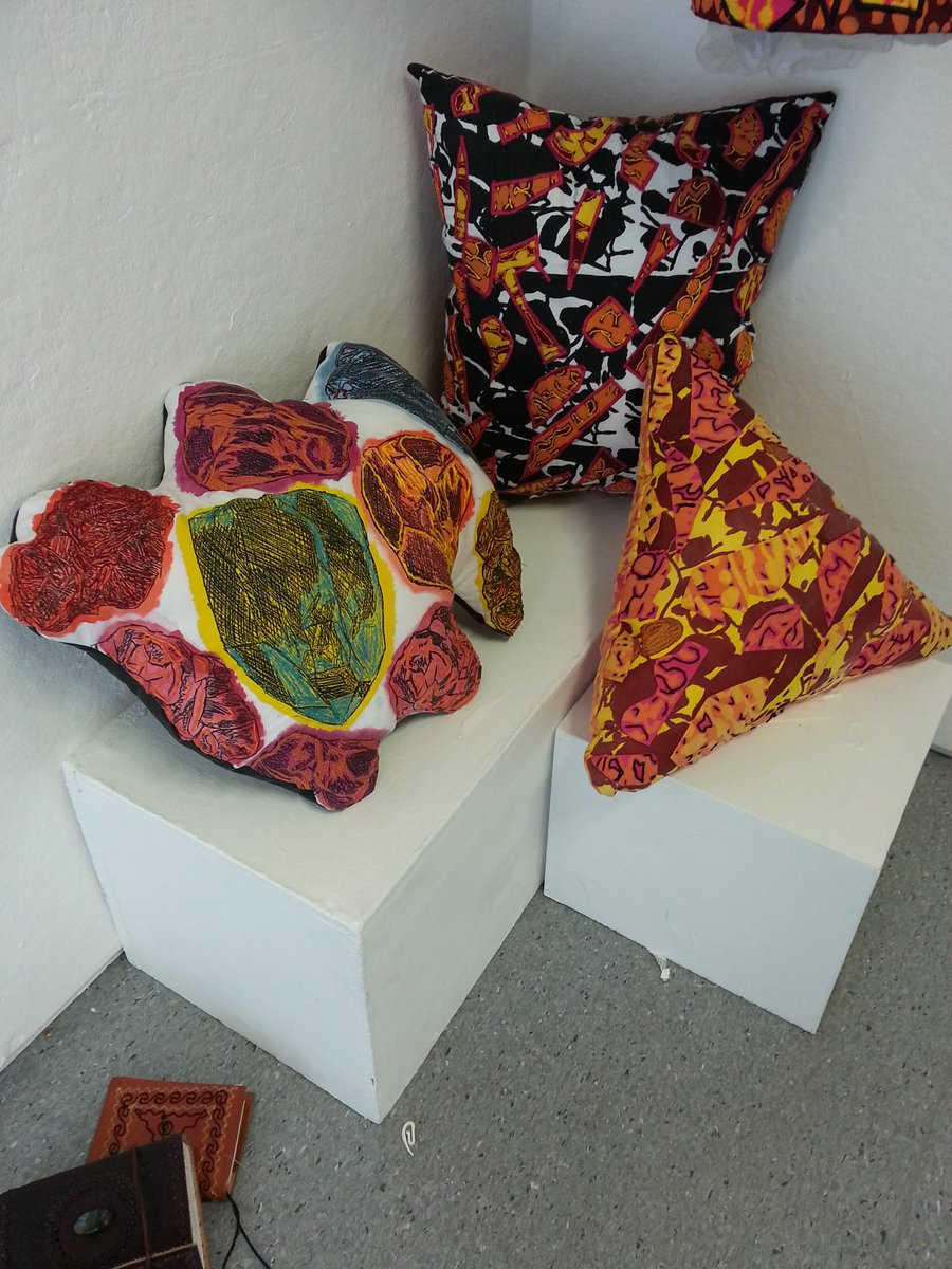 Brightly printed cushions with textures and hand and machine stitch - Theme Reiki, Crystals & Geology